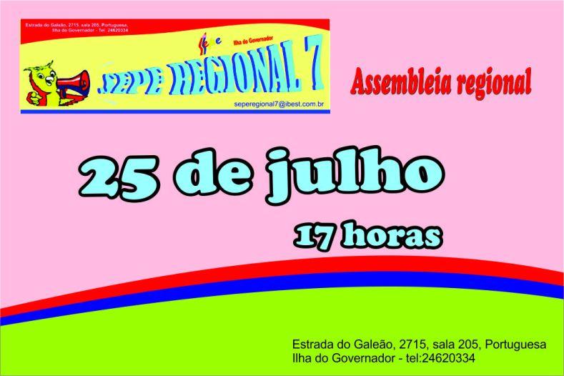 Cartaz assemb Regional 25 julho